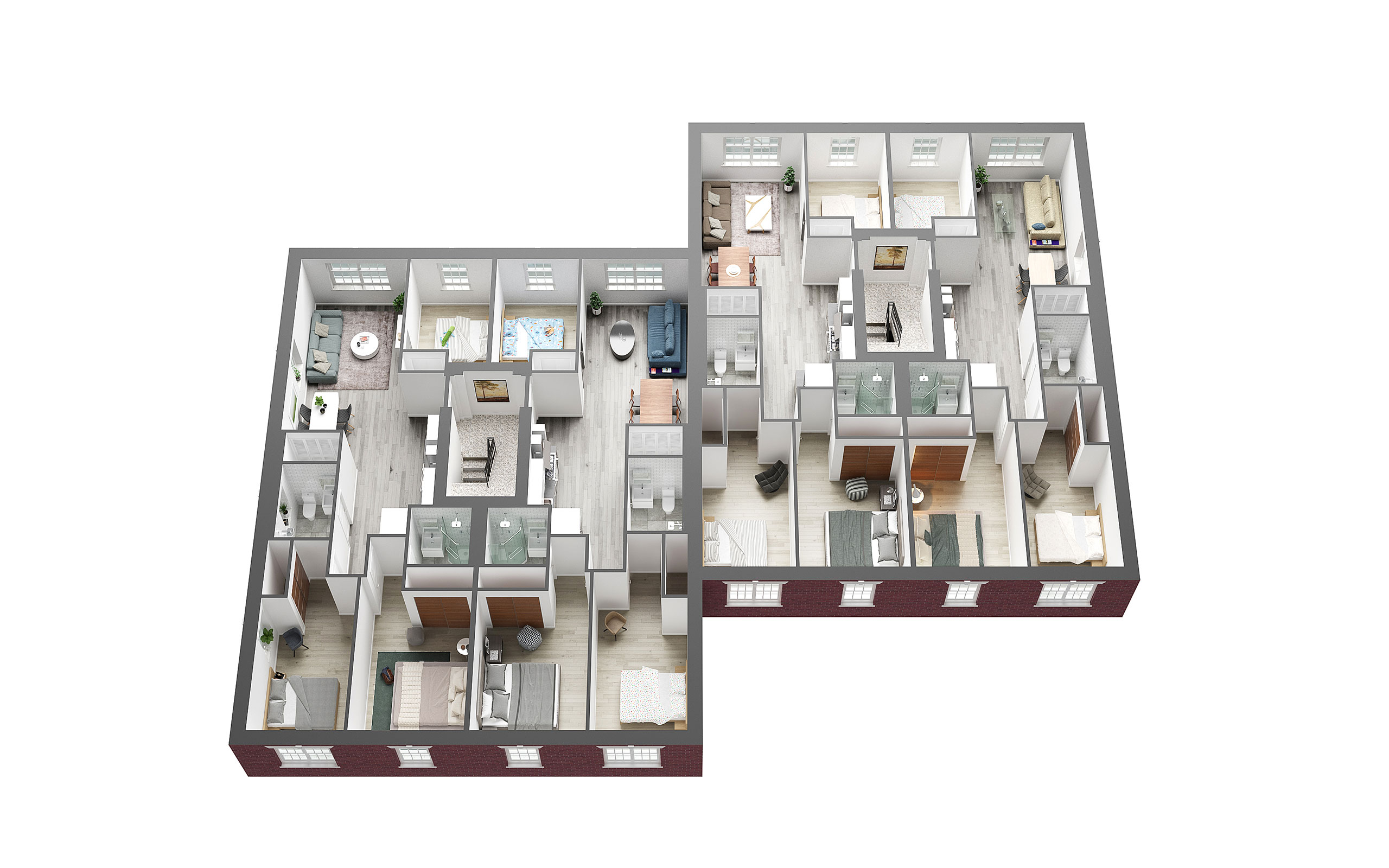 Apartment 3D Floor Plan - Creative 3D Visualization